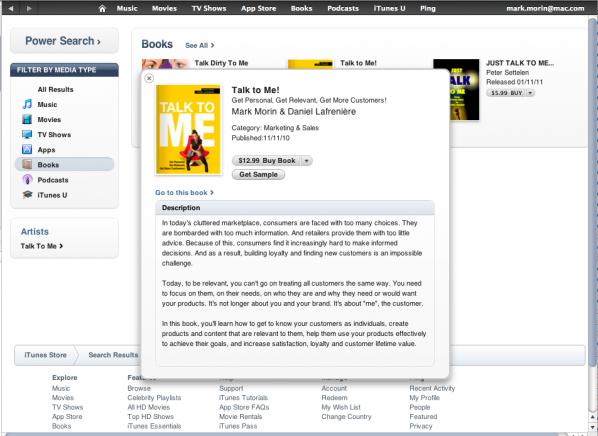 Talk to me est maintenant diffusé sur iTunes en format ePub.